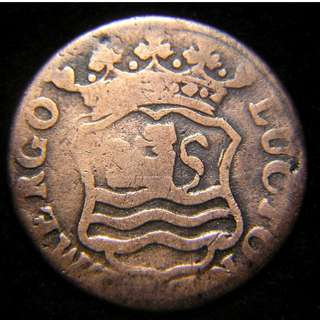 1766年荷蘭遮蘭城(Zeelandia))立獅城徽老銅幣
