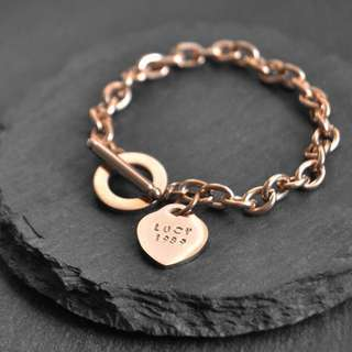 Hand-stamped Heart Charm Toggle Bracelet | Lucie Locket