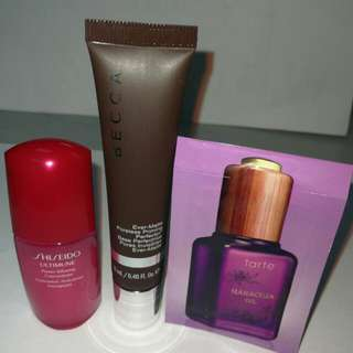 BN Shiseido Ultimune power infusing concentrate Or Becca Ever-Matte powerless priming perfector Or Tarte Maracuja oil