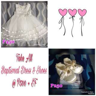 White Baptismal Dress Gown with Shoes 3-6mos