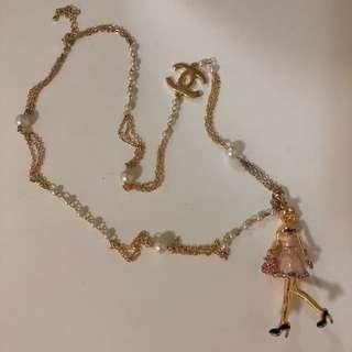 小香款珍珠粉紅鑽長項鍊