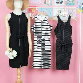black and stripes white and black dress