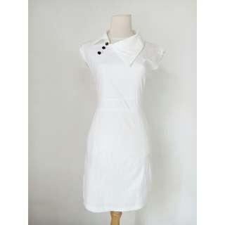 (80rb) NEW Dress white kerah lebar, bhn cotton, LD80-104cm, waist60-86cm, hip88cm, pjg85cm