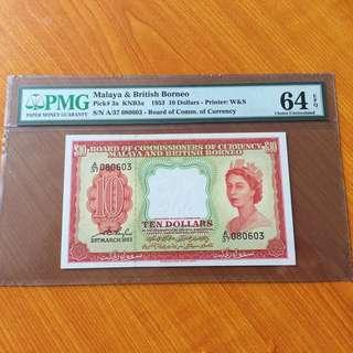 Malaya 1953 Queen $10 UNC EPQ note