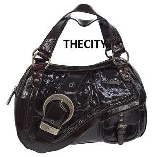 AUTHENTIC DIOR SADDLE GAUCHO BAG IN PATENT LEATHER