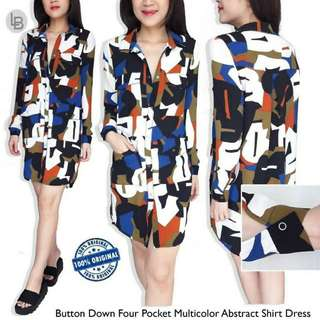 MONKI Button Down Four Pocket Multicolor Abstract Shirt Dress