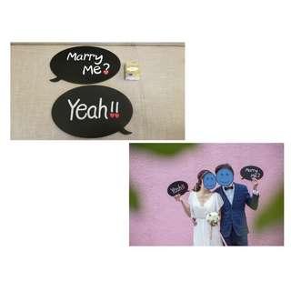 """厚身實淨prewedding/photobooth""""Marryme?""""""""Yeah!!""""道具,1套2塊,$48"""