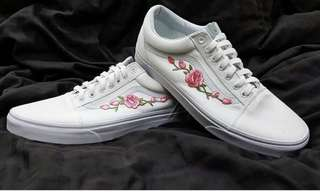 Vans Triple White with Pink Peonies Embroidery