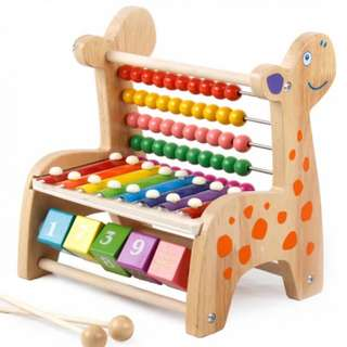 BN Wooden Giraffe Abacus Counting Beads, Flip Blocks, Xylophone Toy