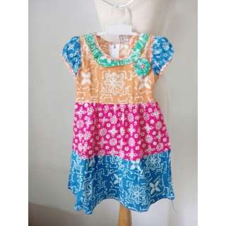 (20rb) NEW Dress batik orange pink blue, bhn cotton,LD50, waist54, hip70, pjg55cm