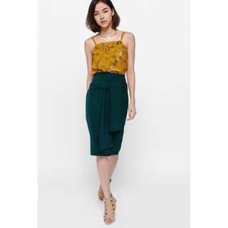 Lovebonito Saevye Sash Pencil Skirt in Forest