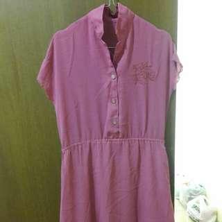 Preloved Dress Midi Chiffon Fit to L Mat Chiffon Warna Pink
