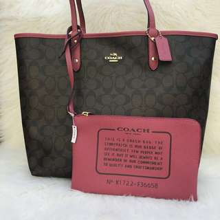 Incoming stocks Coach Signature Reversible City Tote in Brown/Rouge