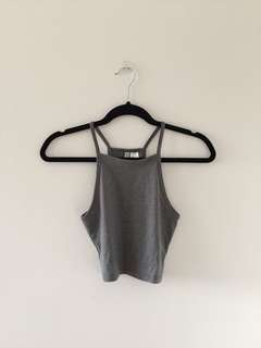 Grey High Neckline Tank Top