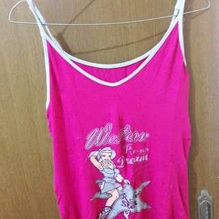 Preloved Tangtop Bunny Pink Fit to L Mat Kaos