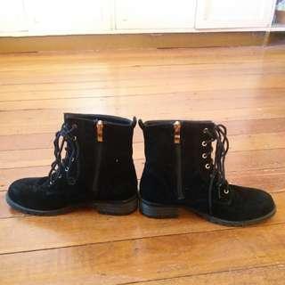 Black Tie Up Combat Boots