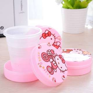 Portable Cup Travel Hello Kitty | Gelas Lipat Plastik