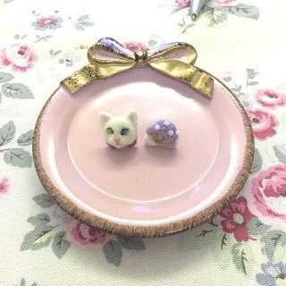 🐱貓咪蘑菇🍄羊毛氈手作耳環