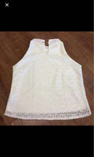 White Laced Sleeveless Blouse