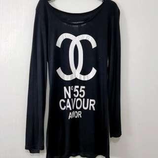 Kaos bahan spandek import chanel ripped blouse