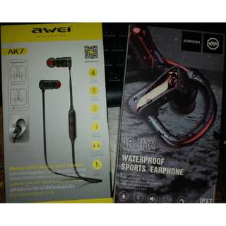 AWEI AK7 / JOYROOM JR-U12 兩款運動型 掛勁式 重低音耳機 99% new