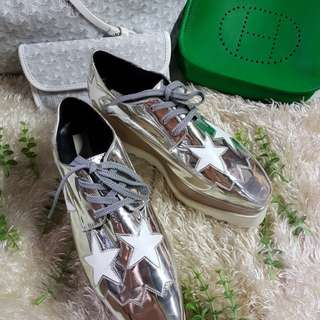 Authentic Stella McCartney White/Silver Platform Derby Wedge Shoes Size 37