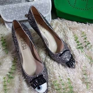 "Authentic Chiara Ferragni ""Flirting"" Glitter Antracite Pumps Size 35 also fits to size 36"
