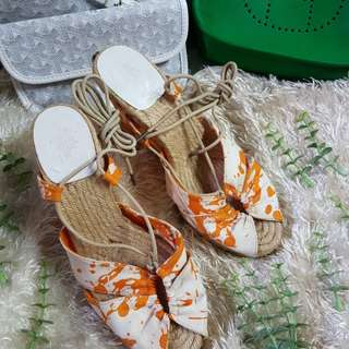 Authentic Hermes White/Orange Lace Up Espadrille Wedge Sandals Size 38