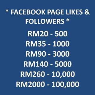 Facebook Followers / Page Likes Adder Service