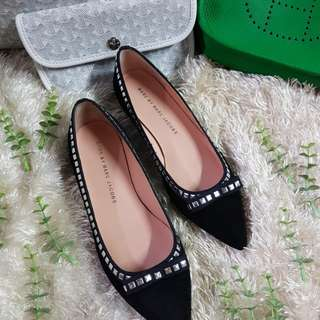 Authentic Marc by Marc Jacobs Black Suede Leather Silver Studded Ballet Flats Size 35 1/2 but also fits to size 36 to 36 1/2