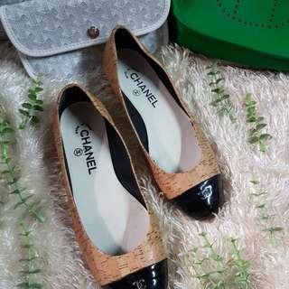 Authentic Chanel CC Captoe Cork Ballet Flats Size 37