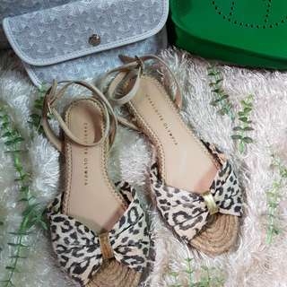 Authentic Charlotte Olympia Marina Leopard Print Espadrille Sandals Size 37