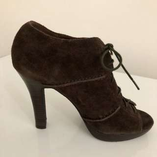 Massimo Dutti Suede Chocolate Brown Booties
