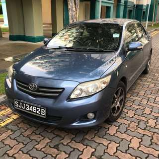 Toyota Altis rental for 2 weeks