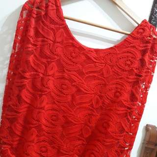Sexy Red Lace Dress S-M