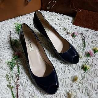 Authentic L.K.Bennett London Navy Blue Patent Leather Peep Toe Wedge Size 37