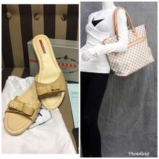 ALL FOR 4K - Highend LV Bag and Original Overruns PRADA Flats/Sandals