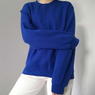 VINTAGE RUSSELL ATHLETIC ROYAL BLUE CREWNECK PULLOVER SWEATER SWEATSHIRT SIZE M