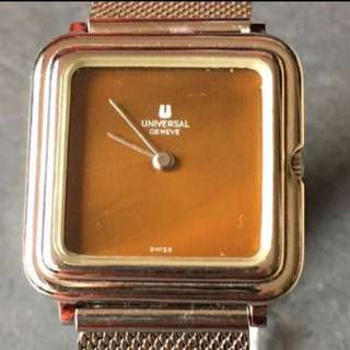 {Collectibles Item - Vintage Dress Watch} Very Fine Piece Gorgeous & Classy Authentic UNIVERSAL Brand Geneve 28mm x 28mm Square True Vintage Unisex Manual Winding Wrist Watch Made In Switzerland Stainless Steel Case Numbers 842676/3423638 With Mesh Strap