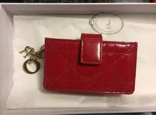 Dior Card Holder- Patent Leather Red