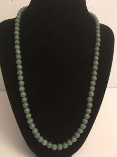 Antique Jade bead necklace with 925 Sterling clasp