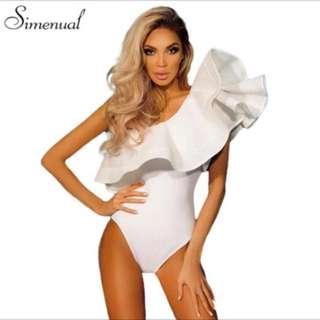 Ladies one shoulder ruffles bodysuit
