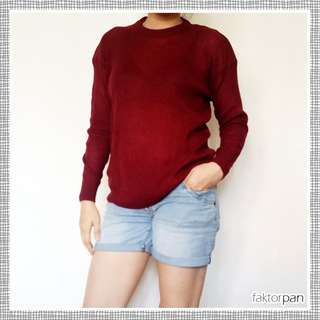 SWEATER Maroon Twistknit ALL SIZE