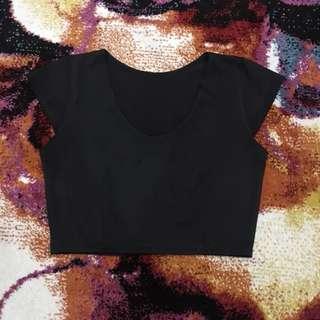 Black Leatherette Crop Top
