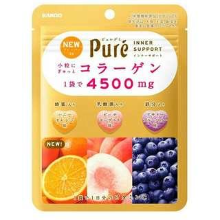日本 KANRO 甘樂 pure綜合水果軟糖 鮮果實夾心軟糖 愛心軟糖 膠原蛋白 水蜜桃優格 巴西藍莓 豆乳芒果