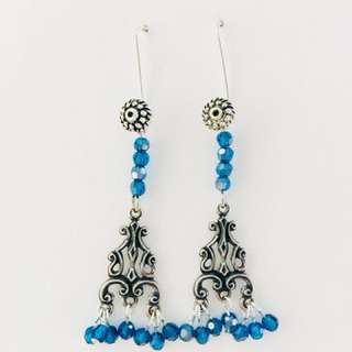 Swarovski Blue beads Filigree drop earrings
