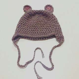 CROCHET BEAR BABY HAT COTTON