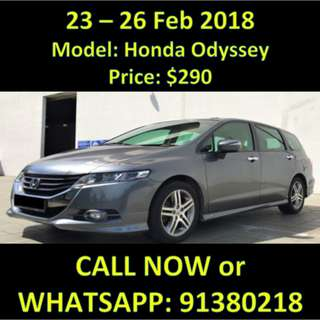 $290 Honda Odyssey 23 - 26 Feb 2018 Sale Weekend