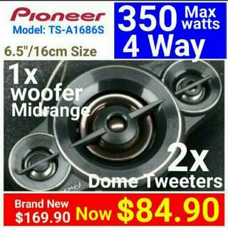 "Car Speakers - Pioneer 4 Way 350 Watts Peak Power( 16cm/6.5"" )with built-in woofer+Midrange+ 2x Balanced dome Tweeters. Model: TS-A1686 Usual price: $169.90. Special Price: $84.90 (Brand New in Box & Sealed)"