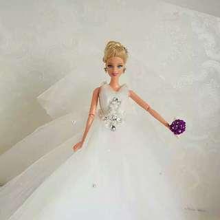 🚚 【娃衣】 娃娃衣服裙子雙肩網紗婚紗禮服獨家手工設計訂製款